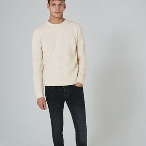 Topman Stone And White Twist Grid Sweater - M